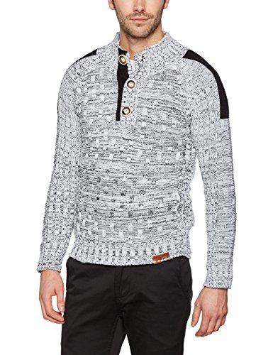 Tazzio tz-3570hommes de patch Pull d'hiver en tricot épais Blanc - blanc