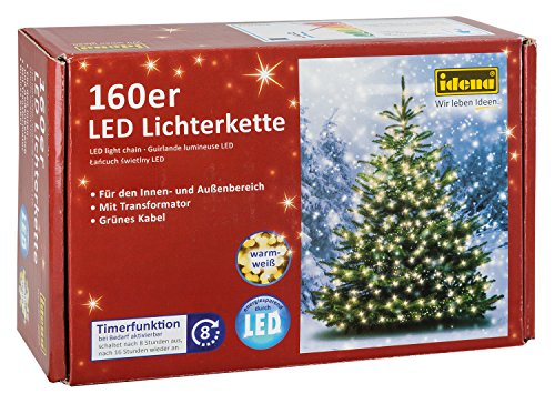 Idena LED Lichterkette 160er, ca. 23,90 m, für innen/außen, warm-weiß