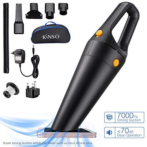 KINSO Aspiradora de Mano, Aspirador de Coche, 120W 7K Pa Silencioso Aspirador súper Fuerte de succión en húmedo y seco para la Limpieza de vehículos domésticos