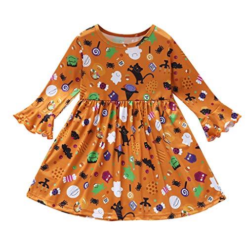 Romantic Halloween Kostüme Kinder Baby Mädchen Lange Ärmel Prinzessin Kleider Kinder Devil kürbiskostüme Verkleiden Kleid Party Kleid Kleid Mädchen Festlich für Karneval Party Halloween Fest (Ghost Kostüm Party Stadt)