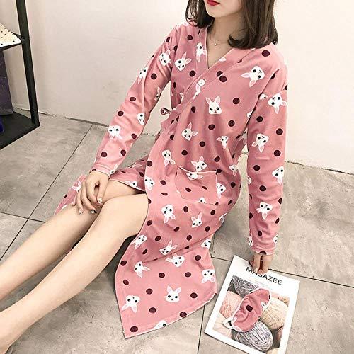 Roben Frauen Lange Cotton japanische Art Kimono-Pyjamas Cartoon Schöne Bademantel Weibliche Nachtwäsche Beiläufiges modisches Gewand mit V-Ausschnitt Frauen, 3, L