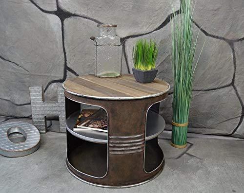 Livitat® Couchtisch Beistelltisch Metall Ölfass Vintage Industrie Look LOFT Shabby LV502