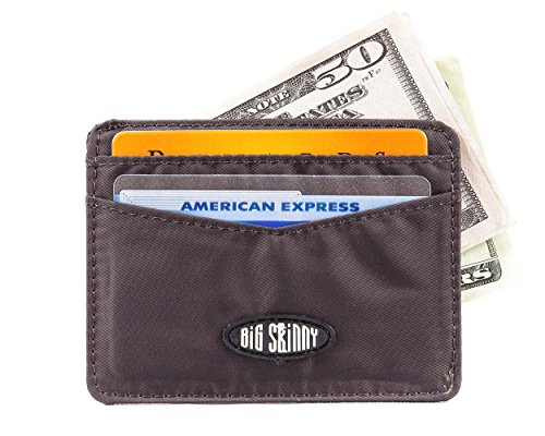 Big Skinny Open Sided Mini Skinny Card Slim Wallet, Holds Up to 9 Cards, Brown