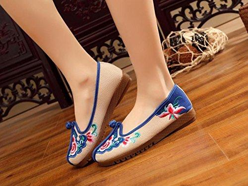 DESY Scarpe ricamate, suola a tendina, stile etnico, scarpe da donna, moda, comodo, casual beige