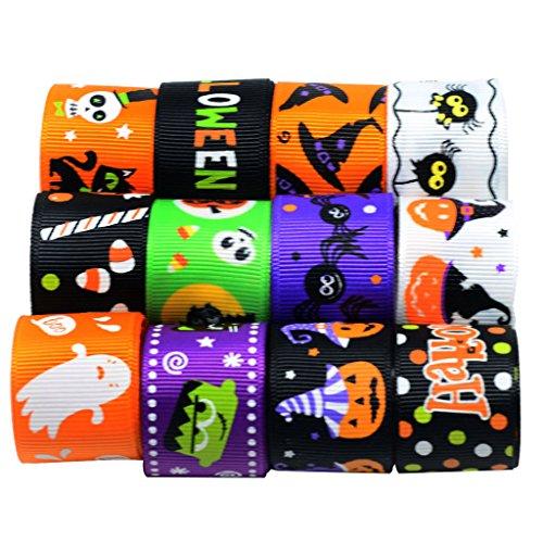 magideal 12Stück 1Yard gemischt Halloween ripsbändern für Heimwerker Kinder Haar Schleife Craft Dekoration 25mm