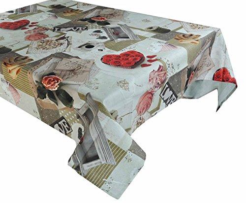 Casa tessile rose patchwork tovaglia cotone resinato - 12 posti 140x230 cm.