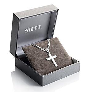 STERLL Herren-Kette, aus massivem 925 Silber mit einem silbernen Kreuzanhänger ideal als Geschenk für Mann oder Freund, mit Schmuckbox