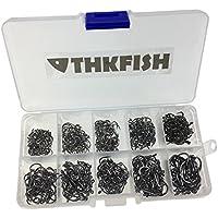 THKFISH  Anzuelos de pesca, 500 piezas 10 tamaños Anzuelos de pesca negros viene con caja de transporte al por menor Set de aparejos de pesca de agua salada Anzuelos de pesca de agua dulce anzuelos