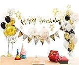 Geburtstagsdeko Geburtstag Dekoration Set Deko Zubehör Happy Birthday, Kindergeburtstag Deko, Geburtstagsparty Dekoration Happy Birthday Wimpelgirlande für Mädchen und Jungen Jeden Alters (Gold)