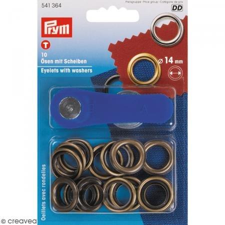 Prym Ösen Plus Unterlegscheiben, Metall, antik Messing, 14mm, 10-TLG. -