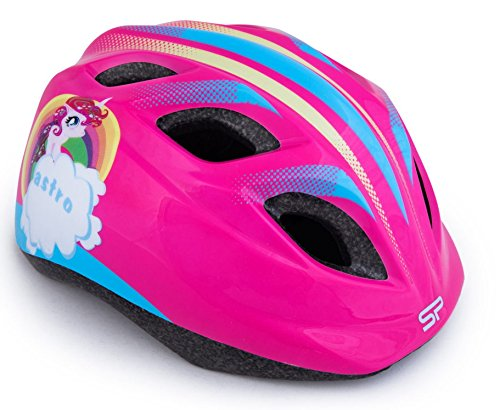 Spokey Kinder Mädchen Jungen Kinder Fahrrad-Helm Fahrrad Bike Skating 44–48cm, police claper blue girl, Pony, 48-52