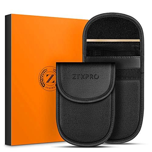 ZTXPRO Faraday Schutzhülle für Autoschlüssel-Signalblocker, zum Blockieren von Keyless Entry Fob Guard Anti-Diebstahl, RFID/NFC Blocking, PU-Leder, Taschengröße, Schwarz (2 Stück) (Bmw Remote Start)