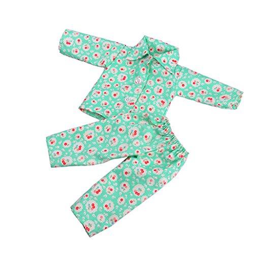 MagiDeal Puppe Pyjamas Kleidung Für 18 Zoll Amerikanische Mädchen Puppen, verschidene Muster - Grün Fröhlich - Puppe Muster Kleidung