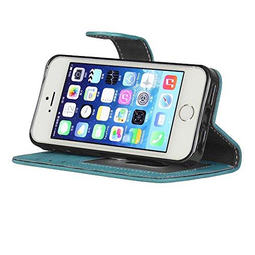 MOONCASE iPhone 4s Coque Mat Rétro Housse Pochette en Cuir Etui à rabat Portefeuille Porte-cartes TPU Case avec Béquille pour iPhone 4 / 4s Gris Bleu
