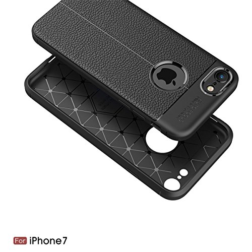 iPhone 7 / iPhone 8 Coque Ultra Mince Élégant Cuir Motif Flexible Soft TPU Bumper Housse Etui Assorbimento di Urti Resistente ai Graffi Assorbimento-Urto Renforcée Protective Smartphone Bumper Cover ( gris