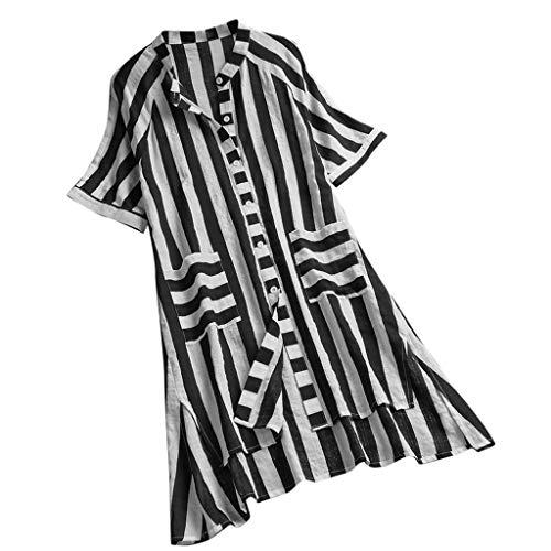 Frauen Weinlese V Ansatz Kurze Hülsen Beiläufige Gestreifte Knopf Unten Oberseiten T Shirt Bluse Gestreiftes Hemd Aus Baumwolle Und Leinen -