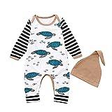 XXYsm Unisex Baby Strampler Set Overalls + Hut Outfits Junge Mädchen Winter Langarm Schildkröte gestreift Jumpsuit Weiß 80/6-12 Monate