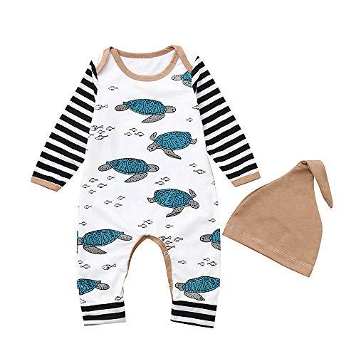 XXYsm Unisex Baby Strampler Set Overalls + Hut Outfits Junge Mädchen Winter Langarm Schildkröte...