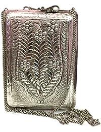 White Silver Brass Metal Clutch Vintage Clutch Handmade Bag Metal Purse Ethnic Wallet