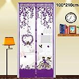 Su-luoyu Moskitonetz Tür Insektenschutz Magnet Vorhang Fliegenvorhang für Balkontür Wohnzimmer, Schwarz 90*210cm/100*210cm (B:100*210CM, Lila)