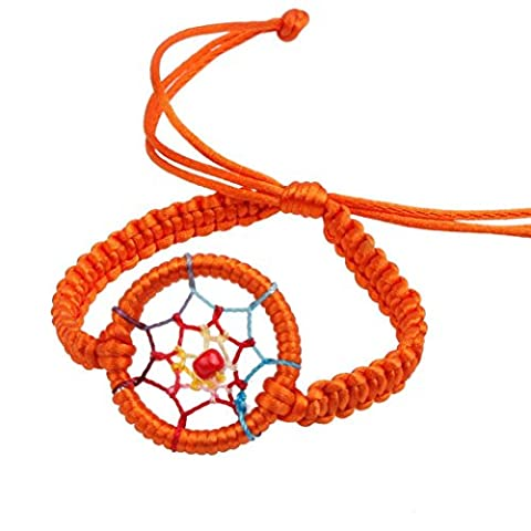 Kolylong 1PC Mode PU Cuir Charm Campanula Mignon Dream Catcher Bracelet Orange