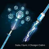 Lightning Kabel - 2m, Blau, geflochten flach - Sehr schnelles iPhone 7 Ladekabel - verstärktes USB Datenkabel mit Knickschutz - Für Apple iPhone 7 6 5, iPad, iPod - SWISS-QA Geldrückgabe Garantie - 4