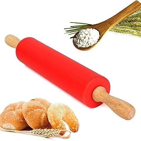 Bluelover 12 pulgadas 30CM madera rodillo silicona masa masa harina pan cocina Bakeware herramienta de