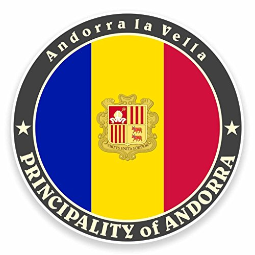 2x Andorra la Vella Bandera Vinilo Adhesivo portátil coche viajes equipaje etiqueta etiqueta # 9506