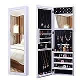 Armadio per gioielli Bianco di stoccaggio dell'armadio dell'armadio dei gioielli rispecchiato porta / parete moderna Deposito di gioielli ( Colore : Bianca , Dimensione : 121.5*38*9cm )