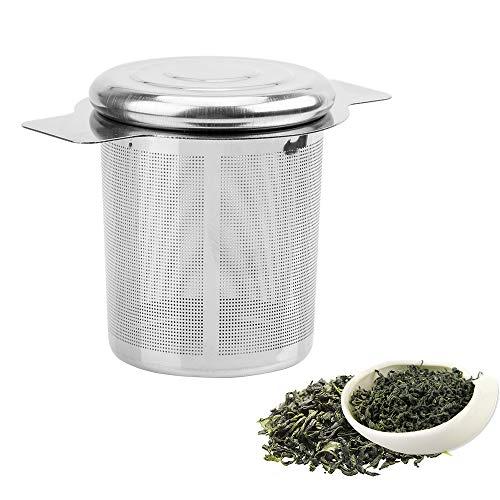 iTimo - Colador de té Reutilizable con 2 Asas, Tapa de Acero Inoxidable, Filtro de té y café