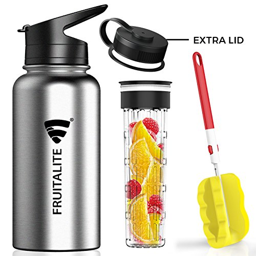 [Sponsored]Fruitalite® Thermosteel Bottle/ Thermos Flask – 1000 Ml With Fruit Infuser Rod & 2 Lids - Flip Top Lid & Wide Mouth Lid, Double Walled Vacuum Insulated Stainless Steel Water Bottles With Cleaning Brush & Recipe EBook &ndas