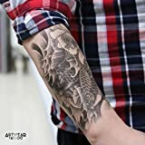 "Tatouage Temporaire ""Carp & Lotus"" - ArtWear Tattoo Koi Carp Flower - B0057 M"