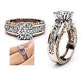 Schmuck Damen Ring,Dragon868 Mode Frauen Farbe Trennung Rose Gold Hochzeit Engagement Floral Ring (7, Silber)