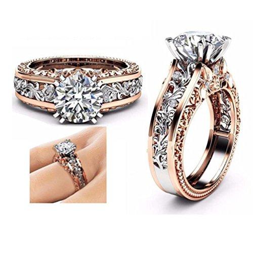 Schmuck Damen Ring,Dragon868 Mode Frauen Farbe Trennung Rose Gold Hochzeit Engagement Floral Ring (9, Silber)
