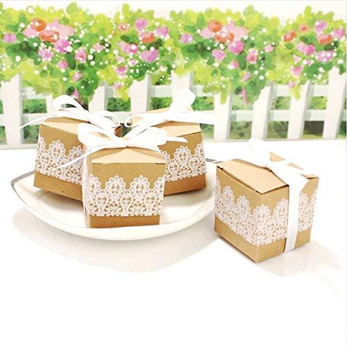 Geschenkbox aus Kraftpapier + Spitze - 4