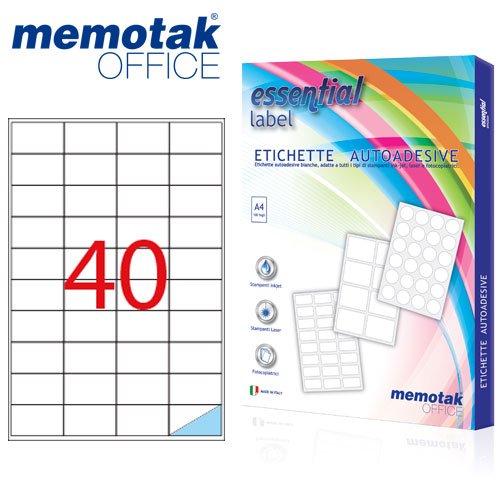 Packung mit 100Blatt A4Etiketten Aufkleber memotak Format in mm 52x 304000Etiketten für Behälter