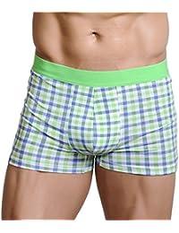 XUBA Men's Sexy Trunks Comfy Cotton Shorts Plaid Underwear Blue Green S