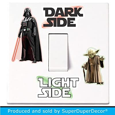 Star Wars Light Switch Stickers. Black, Colour, or Glow-in-the-Dark. decal child room lightswitch wall vinyl dark side darth vader yoda - inexpensive UK light shop.