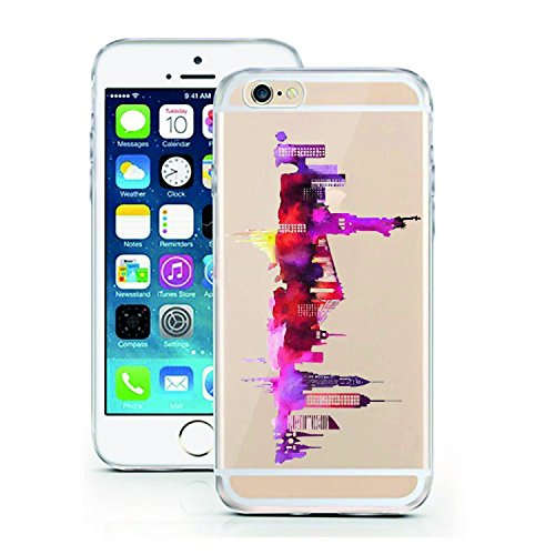 Blitz® ADORE Schutz Hülle Transparent TPU Cartoon Comic Case iPhone Flamingo iPhone 7 New York