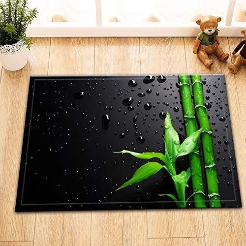 ZHOU Green Plant Lucky bambú gotas de agua Fondo Negro lavable baño alfombra puerta alfombra de casa accesorio 60 X 40 cm
