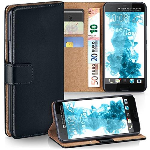 HTC U Ultra Hülle Schwarz mit Karten-Fach [OneFlow 360° Book Klapp-Hülle] Handytasche Kunst-Leder Handyhülle für HTC U Ultra Ocean Note Case Flip Cover Schutzhülle Tasche