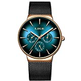 LIGE Hombre Relojes Moda Militar Deportes Impermeable de Acero Inoxidable Negro Malla Hombre Reloj de Negocios Vestido de Cuarzo Analógico Azul Dial Reloj
