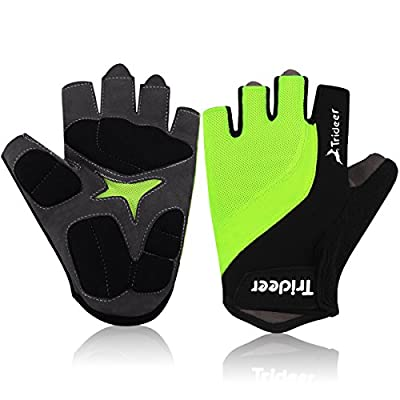 Trideer® Cycling Cycle Gloves/Biking Bike Glove, specialized performance mountain bike road riding crossfit sport fitness bodybuilding exercise light glove, Half finger(fingerless) microfiber lycra material&silica gel grip glove with wrist&strap support,