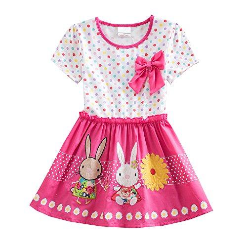 VIKITA Mädchen Kurze Ärmel Blume Stickerei Baumwolle Sommer Kleid EINWEG SH4829 6T