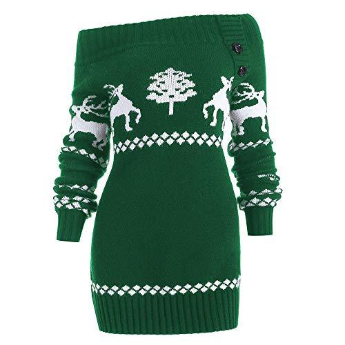 Damen Oberteile MYMYG Damen Weihnachtsbaum Elch Print Skew Neck oder aus der Schulter Gestrickte Botton Sweater Herbst und Winter Sweatshirt(Grün,EU:42/CN-2XL)