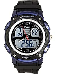Vizion Black Dial Analog-Digital Dual Time Blue-Side Watch For Men-8018609AD-2