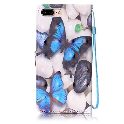 iPhone 7 Plus Coque Bling Cristal Strass Cuir Etui Rabat Style Portefeuille Case Housse Protection Avec Carte Slots pour Apple iPhone 7 Plus 5.5 inch Avec 3D Peinture colorée - Plumage bleu