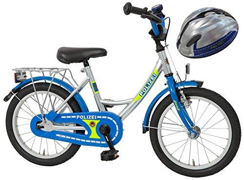 Bachtenkirch Kinderfahrrad Blau/Silber 16 Zoll POLIZEI mit Fahrradhelm (432-PZ-40)
