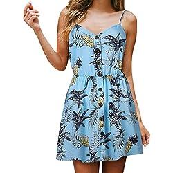 JYC Verano Falda Larga,Vestido De La Camiseta Encaje,Vestido Elegante Casual,Vestido Fiesta Mujer Largo Boda, Honda Cuello en V Piña Impresión Botón Princesa Vestir (S, Azul Claro)
