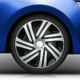 Eight Tec Handelsagentur (Größe und Farbe wählbar) Radzierblenden 16 Zoll - CYRKON (Schwarz-Silber) Bandel passend für Fast alle Fahrzeugtypen (universell)!